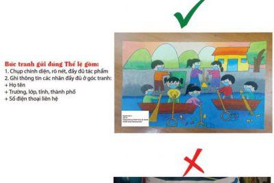 """Hình ảnh cuộc thi vẽ tranh trực tuyến: """"Hãy cùng chung tay đẩy lùi dịch bệnh Covid-19 để các em sớm được đến trường"""""""